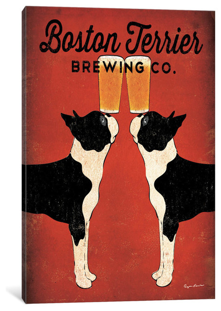 """Boston Terrier Brewing Co. "" by Ryan Fowler, 40x26x1.5"""
