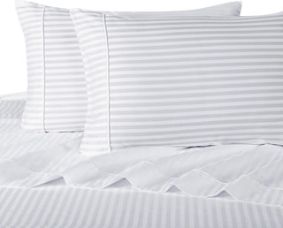 650TC Striped Wrinkle-Free 100% Cotton Pillowcases, White, Standard