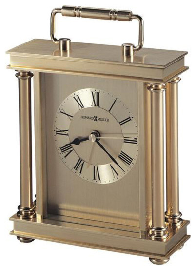 Brass And Glass Mantel Alarm Clock Transitional Alarm