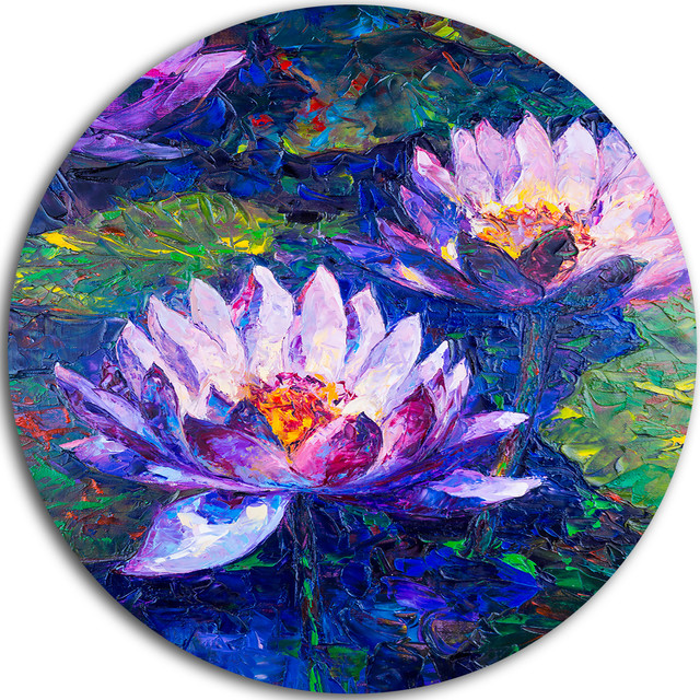 Blue Lotus Oil Painting Floral Round Wall Art Asian Metal Wall