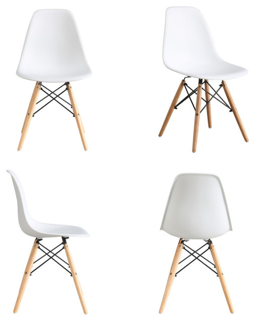 White Midcentury Natural Wood Metal Legs Dining Side Chairs Set Of 4