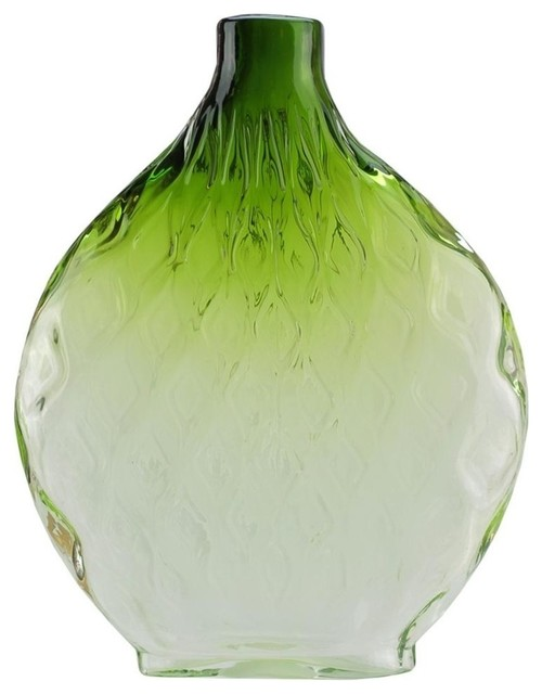 "11.5"" Disc Shaped Transparent Ombre Hand Blown Glass Vase, Forest Green"