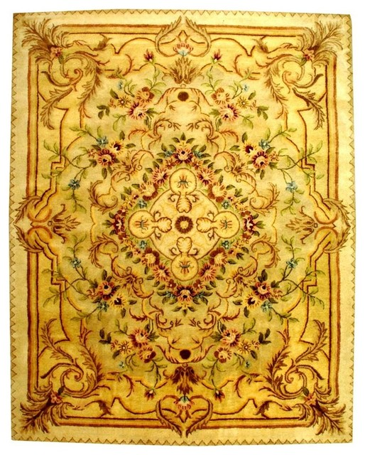 Safavieh Beige And Light Gold Floral Wool Rug 6 X9