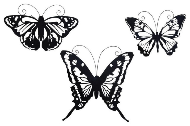 Amazing Animals Metal Butterfly Wall Decor, Black, 3-Piece Set,.