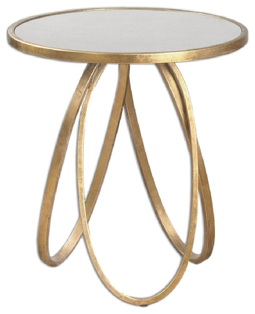 Awesome Uttermost 24410 Montrez Gold Leaf Round Accent Table With Antiqued Mirror  Top