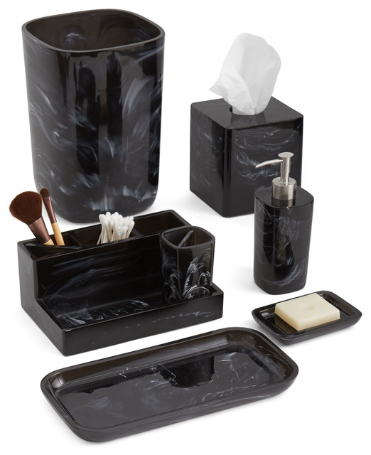 Murano black 7 piece set with organizer contemporary for Black bath accessories sets