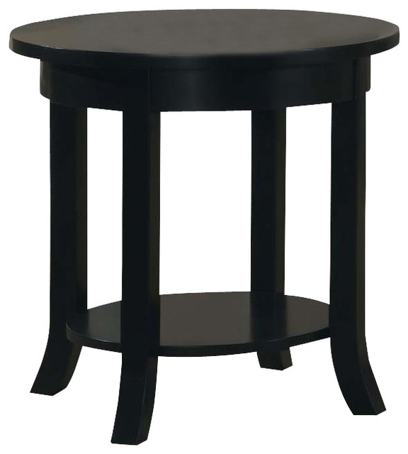 Wood Black Round Flare Square Legs Shelf Accent Sofa Side End Table