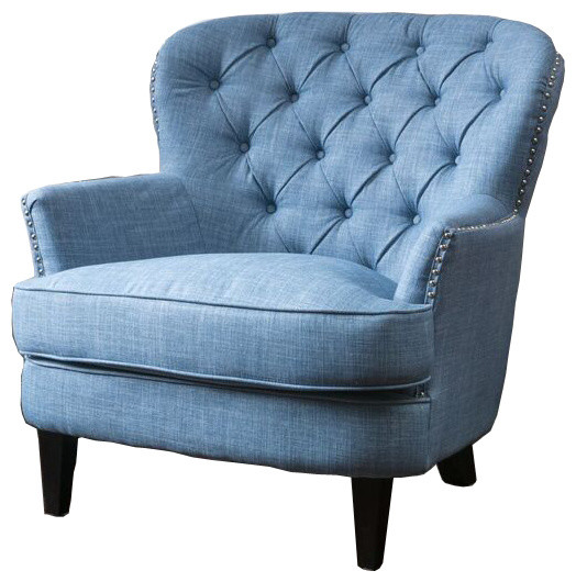 Laxford Light Blue Tufted Fabric Club Chair  Traditional Armchairs And Accent Chairs