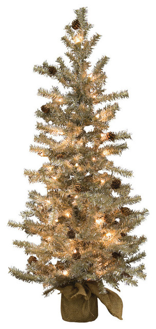 """Pre-Lit Tinsel Tree With Cones, 48"""""""