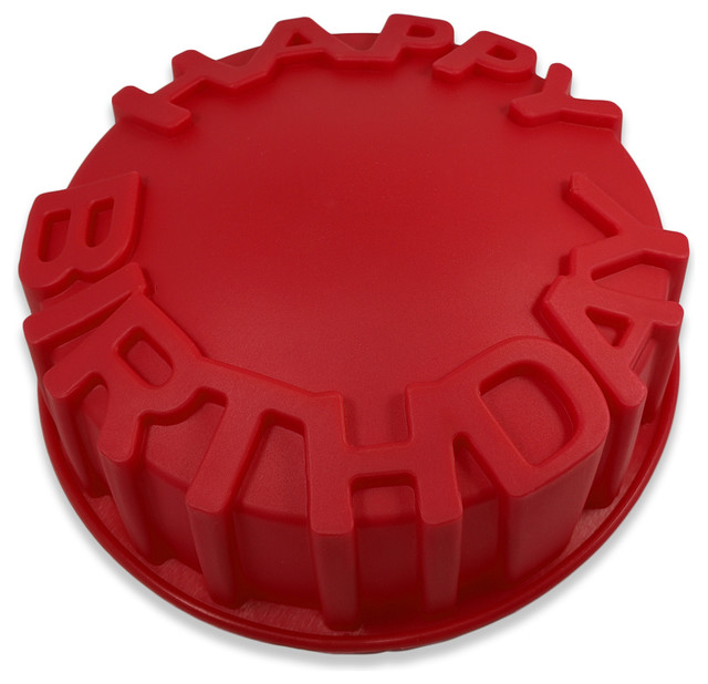 Sorbus Red Silicone Happy Birthday Cake Baking Mold Red