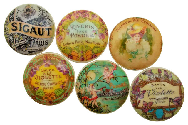 Vintage Soap Perfume Label Cabinet Knobs, 6-Piece Set - Cabinet And Drawer Knobs - by Twisted R ...