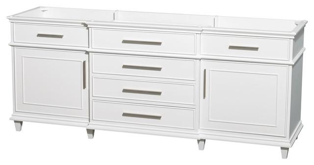"Wyndham Collection 80"" Berkeley White Double Vanity, No Countertop, No Sink."
