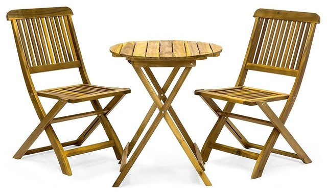 Bistro Set 3 Piece Folding Acacia Wood Round Table And 2 Chairs Outdoor