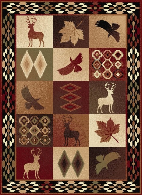 Diamond Deer Novelty Lodge Pattern Multi-Color Rectangle Area Rug, 8&x27; X 10&x27;.