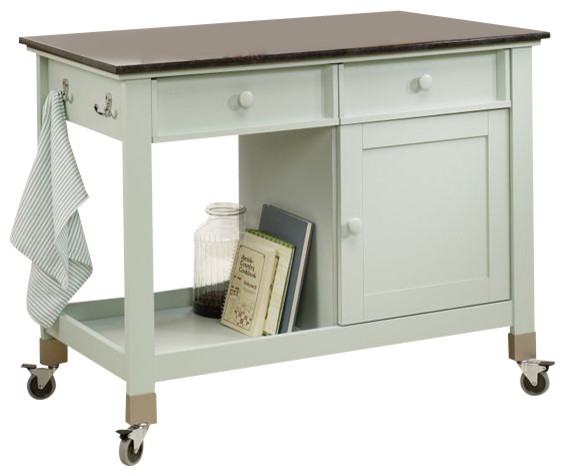 Sauder Original Cottage Mobile Kitchen Island in Rainwater kitchen-islands -and-kitchen-