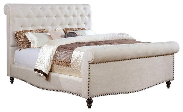 Upholstered Sleigh Bed, Eastern King.