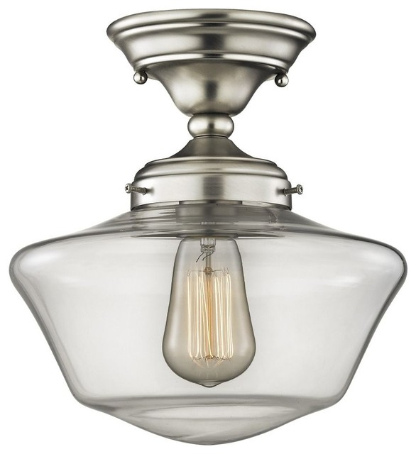 Schoolhouse Ceiling Light, Clear Glass, 10, Satin Nickel.