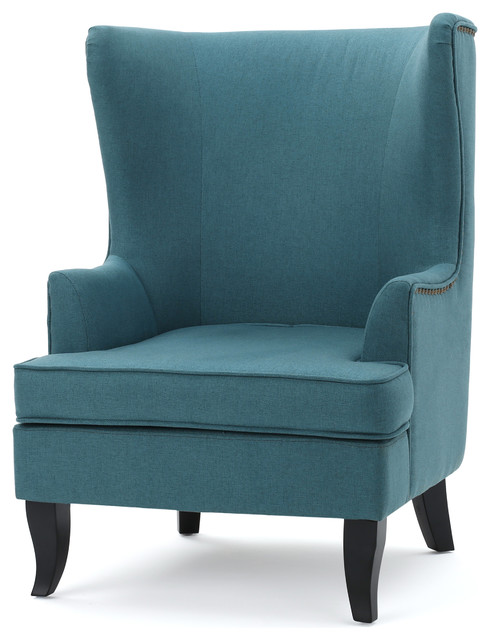 Gdfstudio congaree fabric high wing back chair view in - High back wing chairs for living room ...