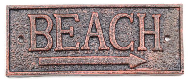 "Rustic Copper Cast Iron Beach Sign 9/"" Door Decor Beach Theme"