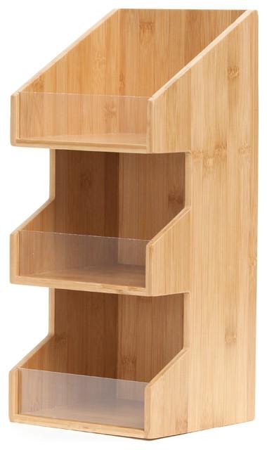 Mind Reader Goldie 3 Tier Condiment Organizer, Bamboo Wood.