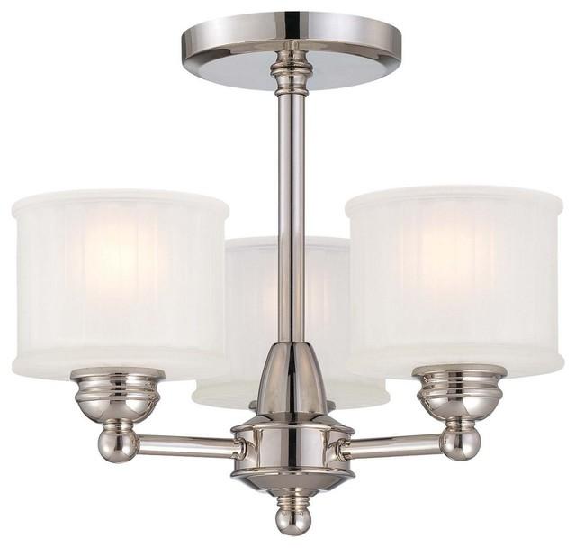 1730 Series 3-Light Semi-Flush Mount Lathan Bronze Etched-Box Pleat Glass.