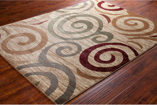 Chandra Ganesh Ganesh12 Rug Cream Burgundy Brown Green Contemporary Area Rugs By Buyarearugs Houzz