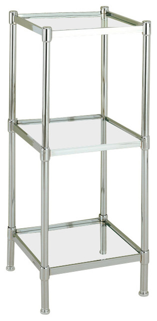Glacier Shelf Tower In Chrome, 3 Shelf.