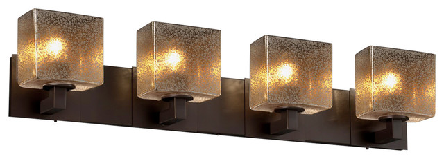 Fusion Modular 4-Light Bath Bar, Mercury Glass Shade - Transitional - Bathroom Vanity Lighting ...