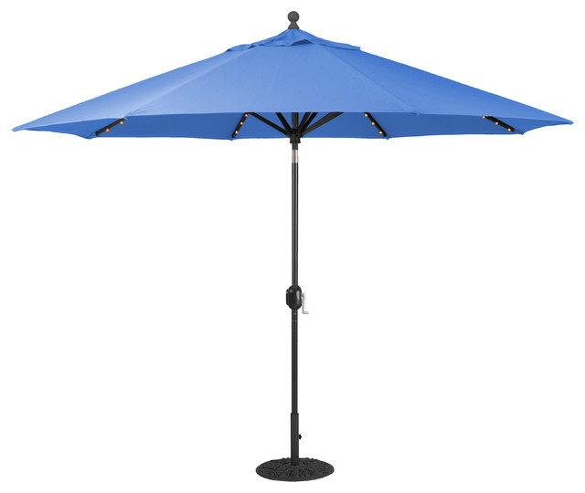 Blue Led Umbrella: 11' Auto Tilt Patio Umbrella With LED Lights, Black