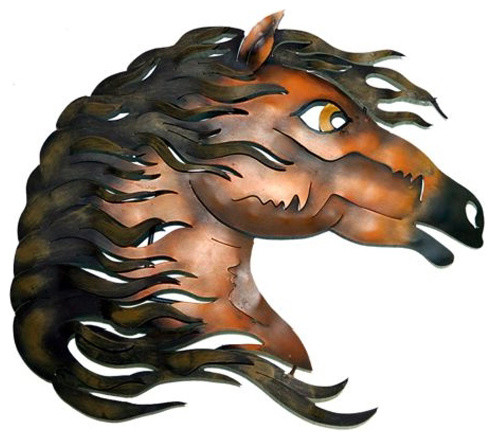 Artisan Crafted Painted Iron Plasma Cut Metal Wall Art Horse Head 1 Contemporary Metal Wall Art By Sofia S Findings Houzz