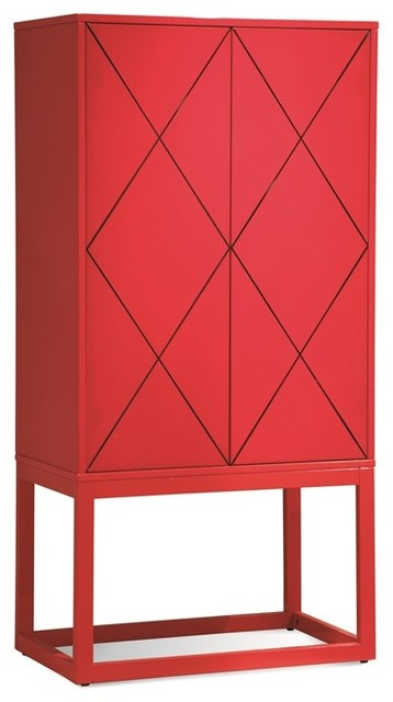 Bassett Mirror Zoe Red Lacquer Hospitality Cabinet  Contemporary Accent Chests And Cabinets