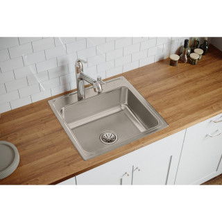 Lr22223 Lustertone Classic Stainless Steel 22 X 22 X 7 5 8 Drop In Sink Contemporary Kitchen Sinks By Bath1
