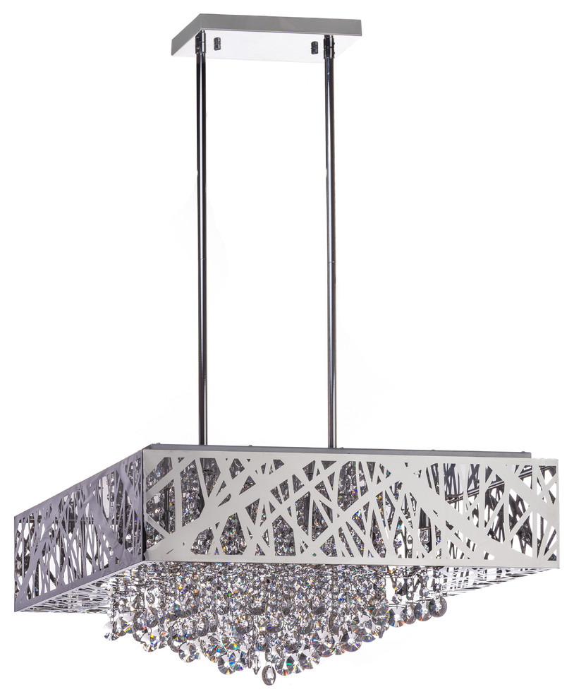 Finesse Decor Chrome Crystal Square Chandelier
