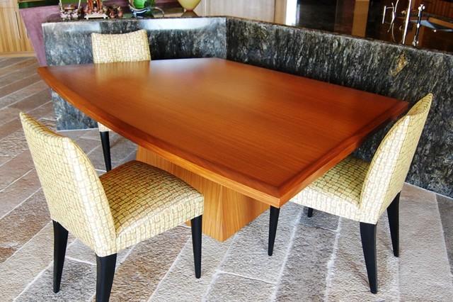 Furniture: Afrimosia Asymmetrical Dining Table