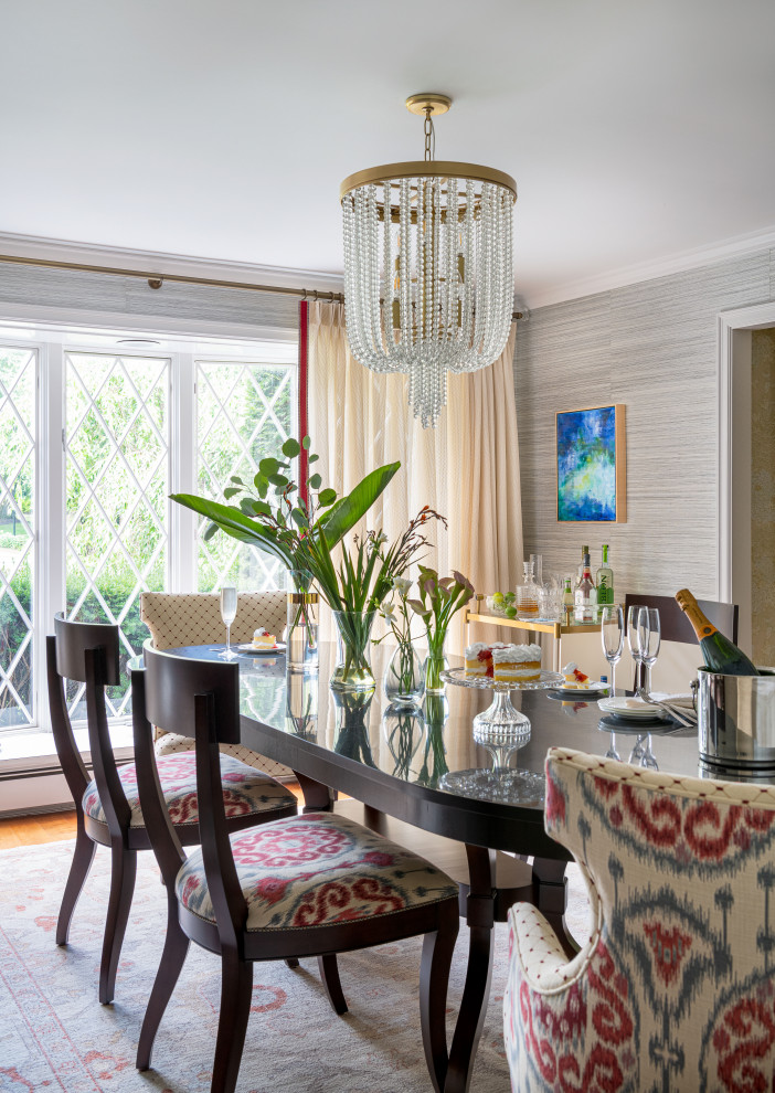 Inspiration for a transitional wallpaper dining room remodel in Boston