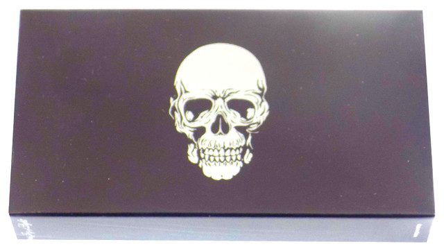 The Joy Of Light Designer Matches Silver Foiled Skull On Black 4 Matchbox.