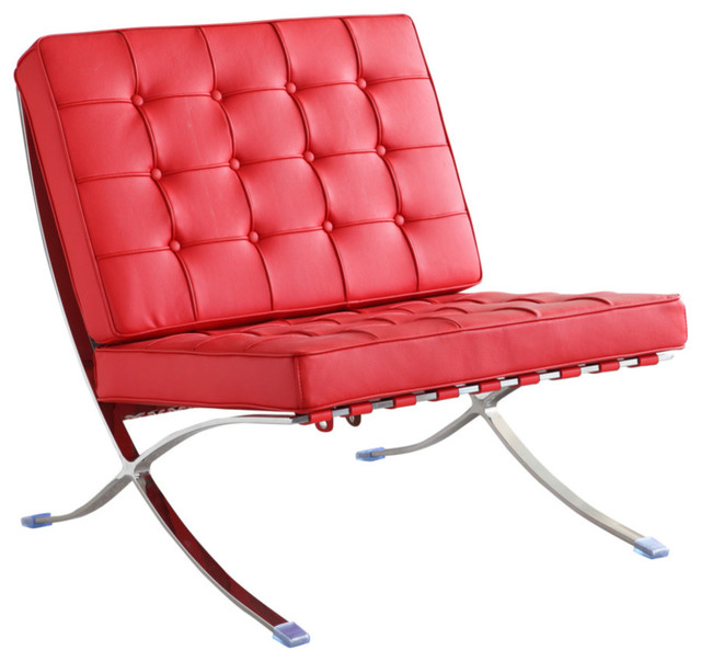 Fine Mod Imports Pavilion Chair In Italian Leather, Red.