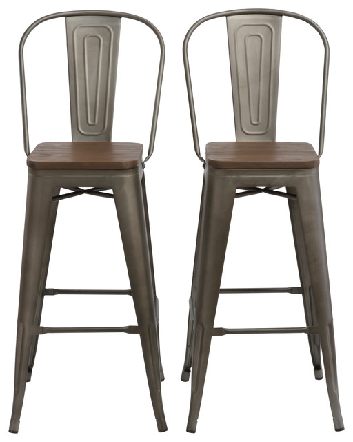 30 Metal Antique Rustic Bar Height Stool Chair High Back Wood Seat