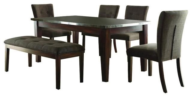 Homelegance Dorritt 6-Piece Dining Room Set With Bluestone Marble Top in Cherry by HomeleganceLA, Inc