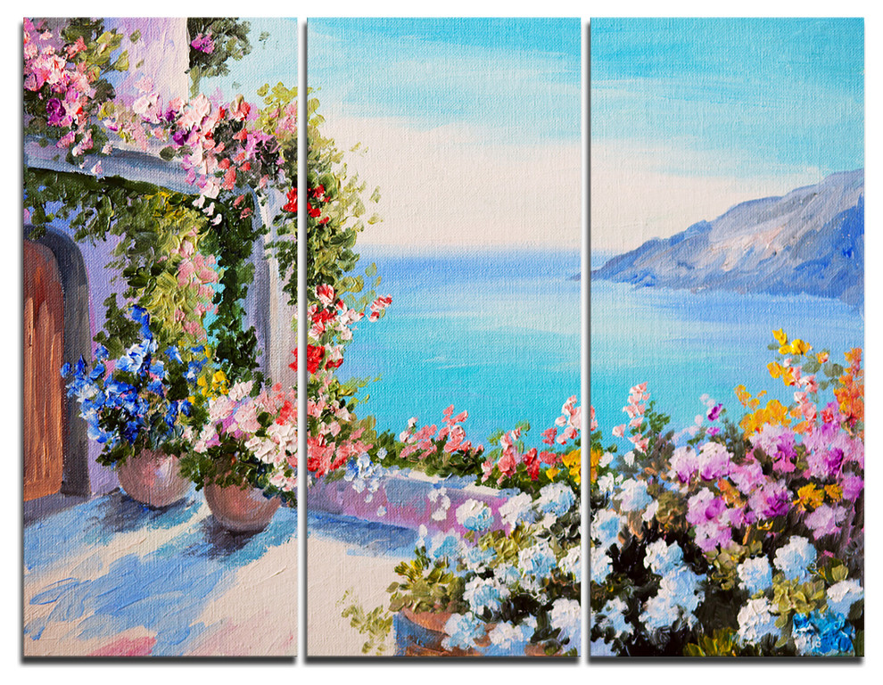 Sea And Flowers Canvas Art Print 3 Panels 36 X28 Beach Style Prints And Posters By Design Art Usa Houzz