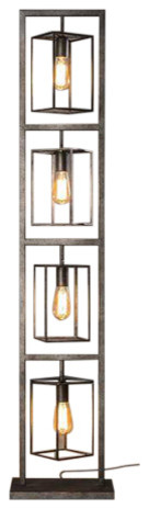 Winston Floor Lamp 4X Cubic Tower, Industrial Design