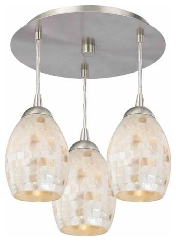 3-Light Semi-Flush Light With Mosaic Glass, Satin Nickel.