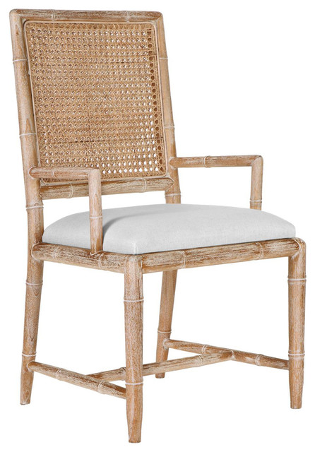 Armande French Country Rustic Caned Bamboo Armchair