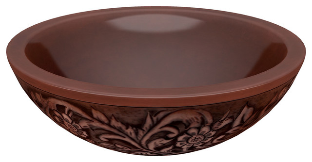 Anzzi Anchor 16 In Handmade Vessel Sink In Polished Antique Copper Traditional Bathroom Sinks By Spaworld Corp
