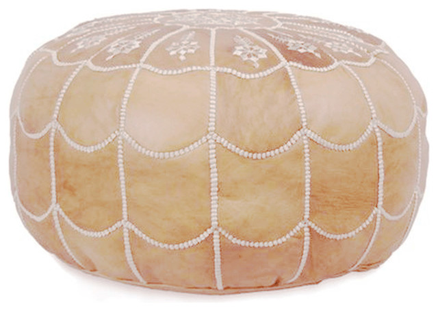 Arch Design Moroccan Leather Pouf, Sand, Stuffed