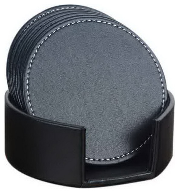 Round//Square Set of 6pcs Business Office Leather Cup Pad Desk Coaster Black