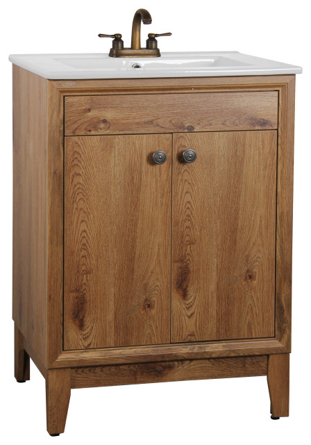Ucore 24 Red Oak Wood Grain Bathroom Vanity Set With Faucet And Led Mirror Transitional Bathroom Vanities And Sink Consoles By Ucore Inc Houzz