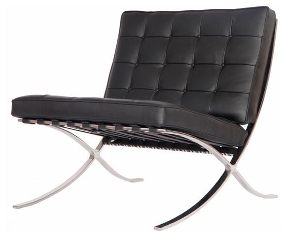Modern Pavilion Barcelona Chair Aniline Leather, Black