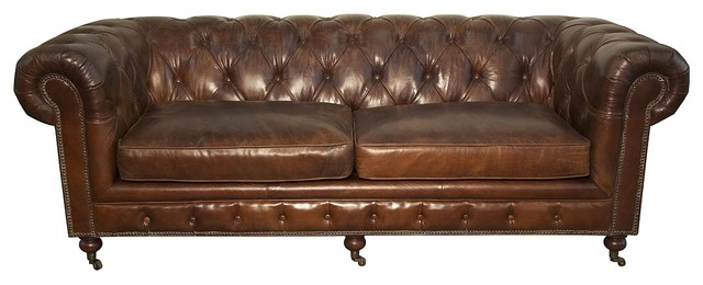 Stupendous 84 Long Sofa Birch Frame Vintage Dark Tobacco Button Tufted Leather 6 Wheels Ncnpc Chair Design For Home Ncnpcorg