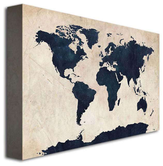 """""""World Map - Navy"""" Giclee Canvas Art by Michael Tompsett - 16 x 24"""